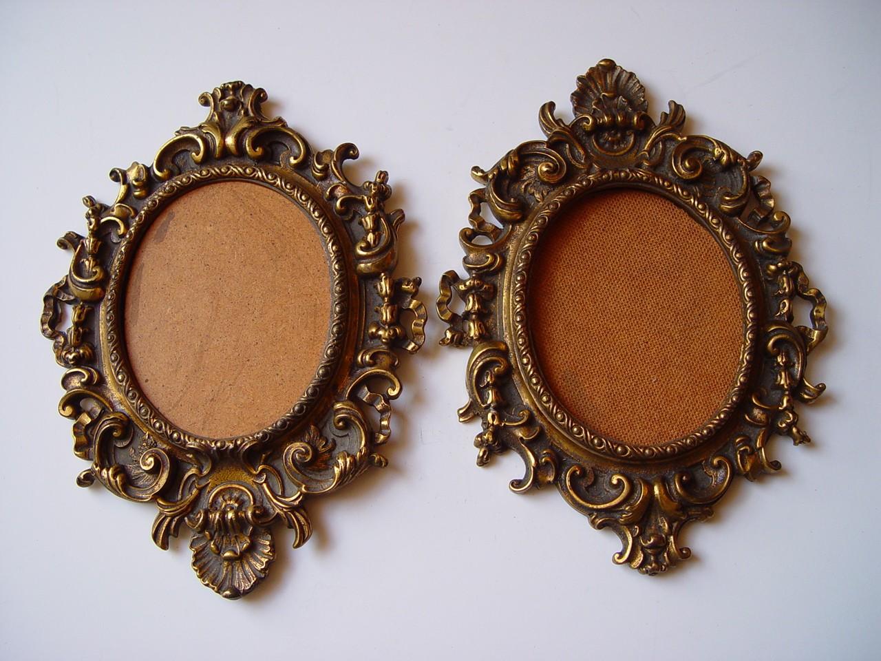 Preciosa pareja de marcos antiguos de bronce | eBay